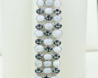 Moonstone Mystic Toapaz 925 S0LID Sterling Silver Bracelet B2671