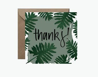 Thanks Greeting Card | Tropical Monstera Leaf