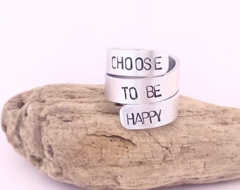 Custom hand printed ring and adjustable triple spiral, customizable with the phrase you prefer!