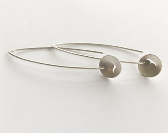 Silver Drop Hoop Earrings with Seagull Silhouette, silver hoop earrings, bird earrings