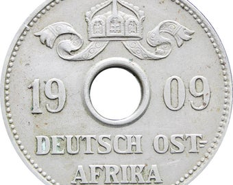 1909 10 Heller German East Africa Wilhelm II Coin Mint Hamburg