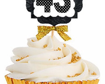 43rd Birthday / Gold Ribbon with Polka Dot Numbers Cupcake Picks / Toppers -12ct.