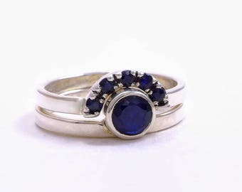 sapphire silver ring, sapphire Ring, blue sapphire Ring, Sapphire Engagement Ring, silver engagement ring, sapphire promise ring, crown Ring