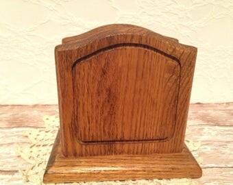 Oak Napkin Holder, Vintage Oak Napkin Holder, Napkin Holder, Wood Napkin Holder, Vintage Oak Wood Napkin Holder, Solid Oak Napkin Holder