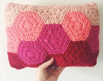 Crochet Hexagon Pillow Cushion | LOVE | Valentine's Day | Home Décor | Modern | Geometric | Red/Pink | Gifts for Her |  Ready to Ship