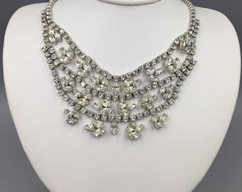 Bellini Rhinestone Bib Necklace - Vintage 1960s Signed Bellini Statement Necklace