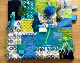 Sensory Focused | Quilts for Autism | Dementia Blanket | Advanced Alzheimer's |  TURQUOISE POLKA DoT BLUE by Restless Remedy