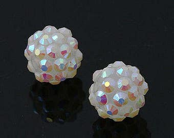 Acrylic Stone Ball beads  12mm WhiteOpal AB) [5 Pieces]