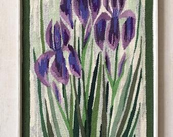 Scandinavian Swedish tapestry wall hanging of Irises by Ingas Konsthantverk