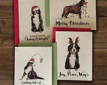 Set of 4 Bernese Mountain Dog Christmas Cards / Berner Bundle / Watercolor