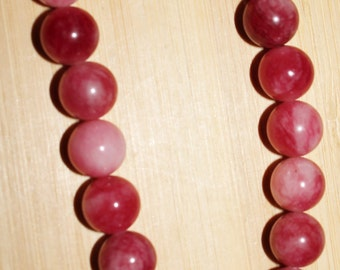 """16"""" Strand of 10mm Smooth Round ***Dyed Pink Candy Jade Beads #71"""