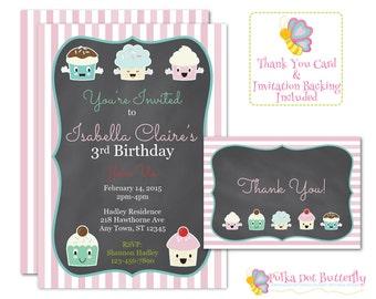Printable Cupcake Invitation, Girls Birthday Party Invitation, Cupcake Birthday Party, Birthday Party Invitations, Chalkboard Invitation