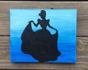 Cinderella Painting Etsy - Beautiful painted window silhouettes interact outside world