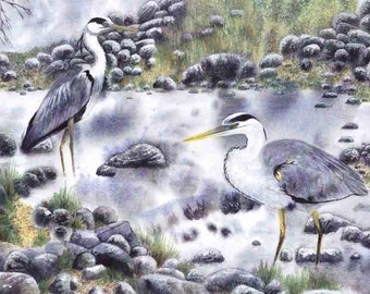 "Art Print: ""Herons' meet"" - A3 bird print, heron painting, wall art, bird painting, herons fishing, grey art,  from a painting by Dave Marsh"