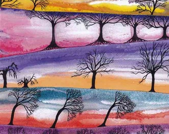 "Art Print: ""Skies and trees"" - A3 mystical print, sunsets, bare trees, wall art, contemporary art, tree print, from a painting by Liz Clarke"
