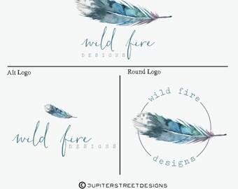 Logo package-Feather Logo-Boho Logo-Business Branding