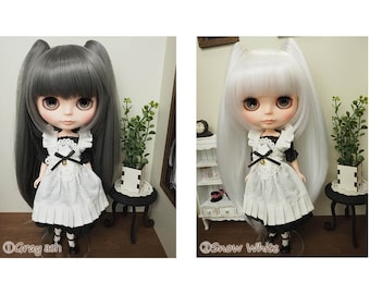 Blythe doll wig 10inch Cat two tale Style wig Pulip outfit