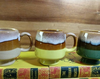 Set of 3 Vintage Drip Glaze Pedestal Stacking Mugs in Tan, Yellow and Green