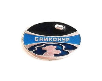 "Vintage Soviet pin badge - ""Baikonur"" / Made in USSR, 1970s"