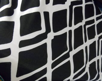 "Black and White Block Abstract Geometric Knit Fabric 58"" Wide By the Yard"