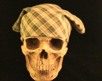 Bandana OOAK Rusty Bones Skull Rag Upcycled Men's Shirt Green Plaid Scarf, Do Rag, Neckerchief