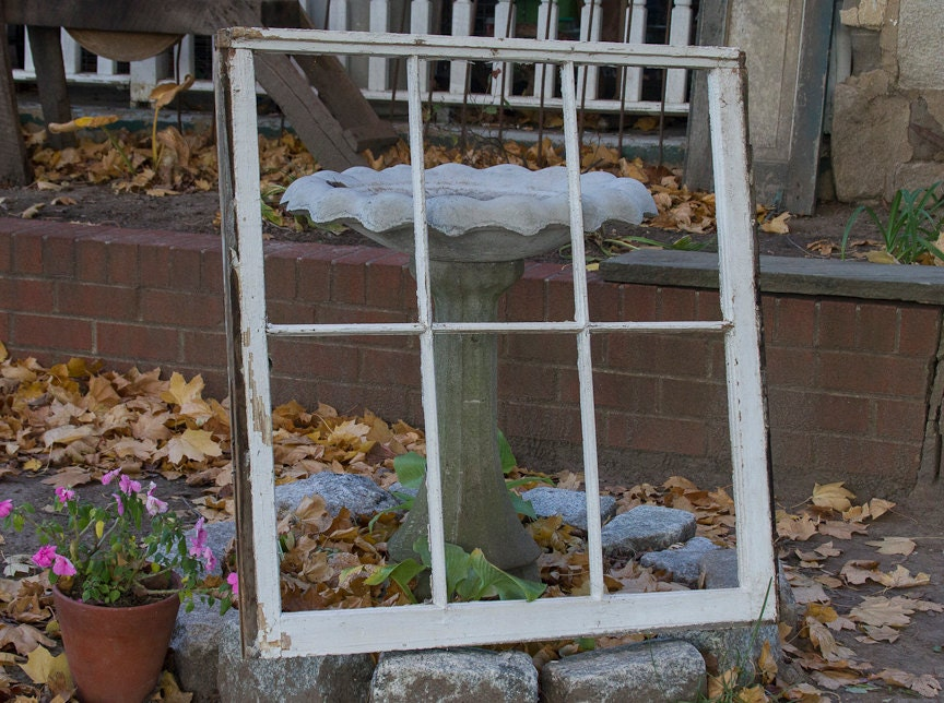 antique rustic window frame large six pane old reclaimed wood distressed window garden decor salvage antiques