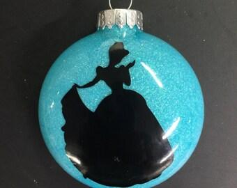 Cinderella princess glitter ornament