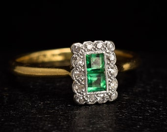 Antique Edwardian Emerald & Diamond Picture Frame Cluster Ring in 18ct Gold and Platinum