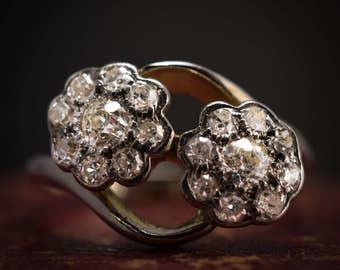 """Antique Art Nouveau Diamond """"Double Daisy"""" Ring in 18k Gold, c1915"""