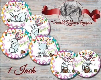 Easter Bunny Fun..  1 inch circles- set of 15 bottle cap, cupcake toppers, pendants comical easter bunny  600dpi, cupcake toppers, Gift Tags