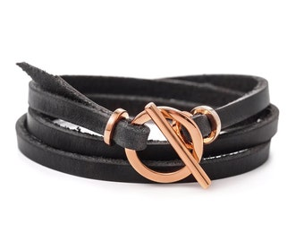 Rose gold Leather bracelet for women gift for her Leather Cuff Bracelet with Toggle Clasp leather jewelry rose gold bracelet