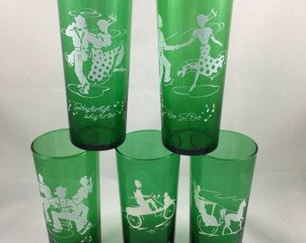 Vintage Emerald Green Square Dancing Glasses, Retro Drinking Glasses 3 with Dancing Motif, 2 With Transportation Motif, Vintage Barware