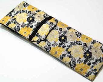 Insulated Curling Iron, Flat Iron, Hair Iron Travel Case in a Yellow Floral Fabric with a Black Interior
