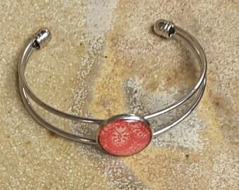 Red Cuff Bracelet, Red Jewelry, Red Cameo Bracelet, Slip on Bracelet, Australian Made, Domed Bracelet, Ladies Gift, Gift for Her