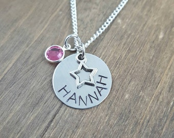 Personalized Star Necklace - Hand Stamped Star Necklace - Birthstone Necklace - Girl Name Necklace
