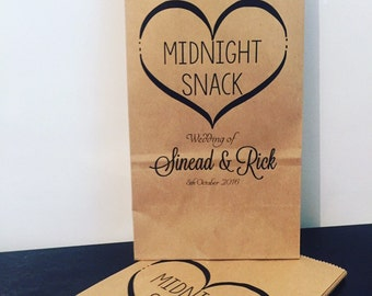 Personalised Stand Kraft Paper Bags Midnight Snack Wedding Favour Gift Bag