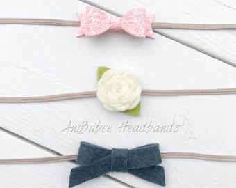 Baby Bow Headband, Baby Headband, Infant Headband, Newborn Headband, Flower Headband, Glitter Bow, Baby Headband Set, Newborn Bow, Baby Bow