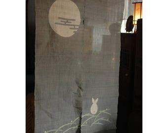 """traditional linen noren, door way curtain.meditating rabbit under the moon (WE05-375) 35""""W x 59""""L"""