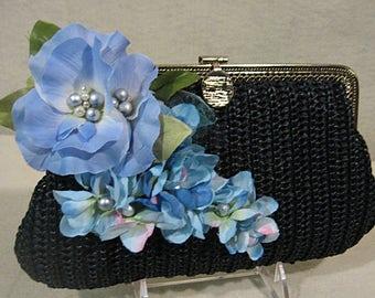 Blue Silk Flower Clutch, Easter Clutch, Spring Clutch, Summer Clutch, Floral Clutch, Blue and Black Clutch, Floral Evening Clutch