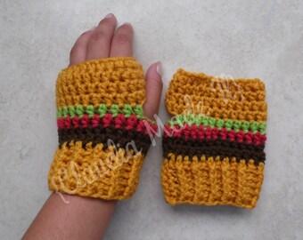 Burgers, Fingerless, Gloves, Mitts, Crochet gloves, Crochet Mittts