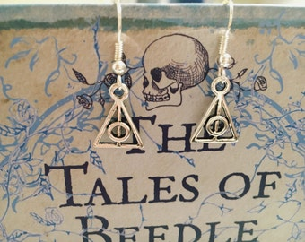 Silver plated Deathly Hallows earrings