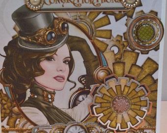 Steampunk Card, Steampunk Congratulations Card, Steampunk Greetings Card, Steampunk Congratulations, Congratulations Card
