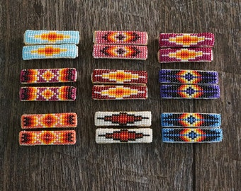 native american jewelry,native american beadwork,navajo,native american beaded jewelry,native,Navajo Beaded Barrette,Navajo Beaded Barrettes