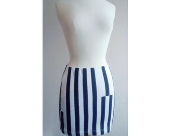 Mini black and white - striped stretch skirt set