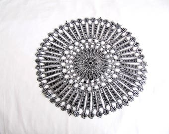 Circle Lace, Silver Foiled Lace,  Veiled Lace With Silver  Antique,Silver  Imace Lace Applique