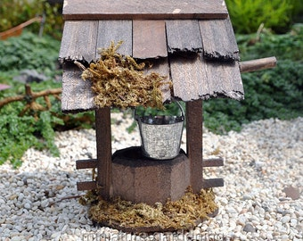 Wooden Wishing Well for Miniature Garden, Fairy Garden