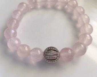 Rose Quartz Bracelet With Pave Clear Rhinestone Bead