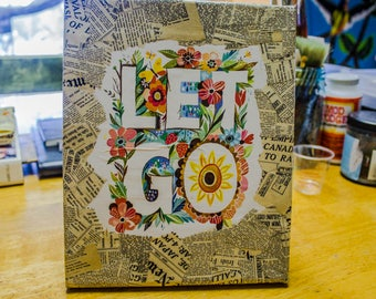 Large Mixed Media 'LET GO' Canvas