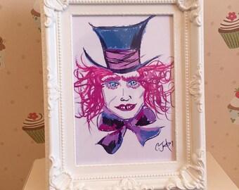 Vintage alice in wonderland the mad hatter art illustration photo frame home decor