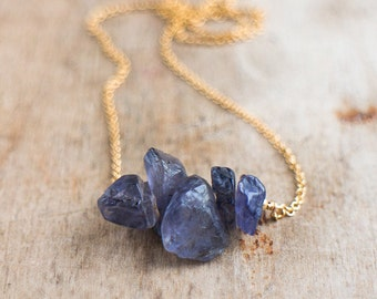 Rough Iolite Necklace, Raw Water Sapphire Necklace, Inky Violet Blue Indigo Iolite Jewelry, Raw Stone Jewelry, Iolite Crystal Necklace